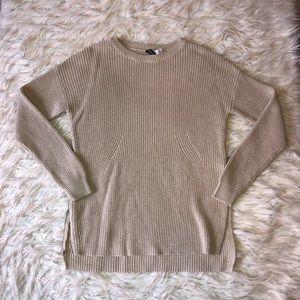 Beige oversized side slit sweater
